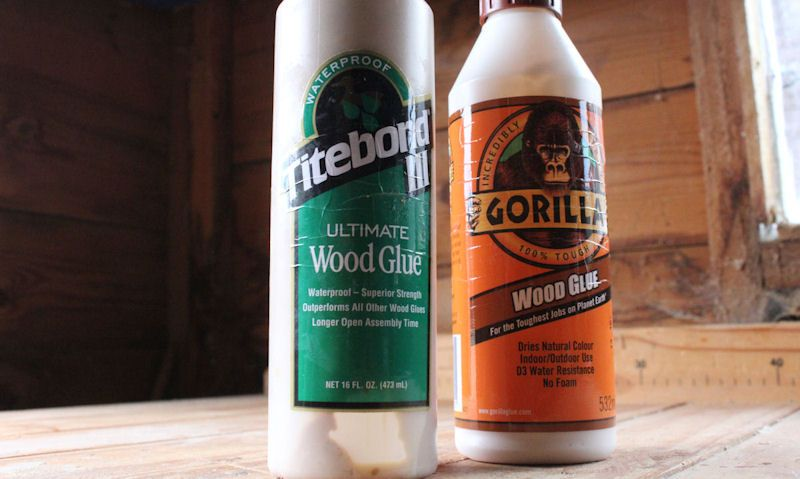 Bottle of Titebond III and Gorilla wood glue on woodworking bench
