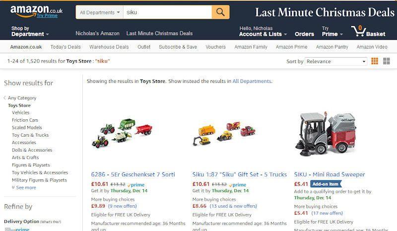 Amazon Siku toy range in catalogue