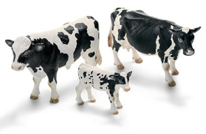 Photo of a set of Schleich Holstein Cattle