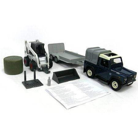 Britains Big Farm Land Rover, Trailer & Skid Steer