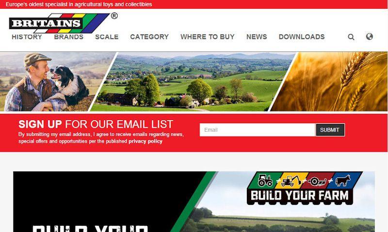 Britains farm toys official website screencap