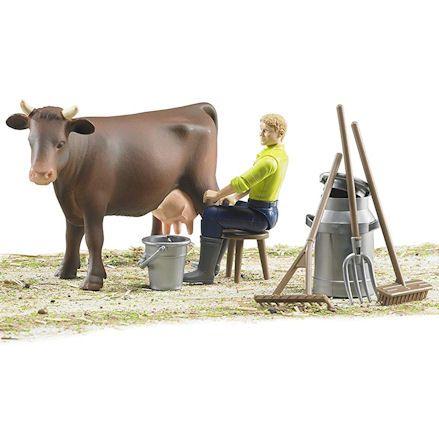 Bruder 62605 Farming Milking Set, diorama