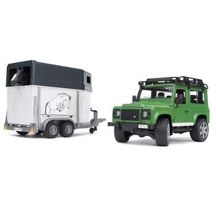 Bruder 02592 Land Rover Defender with Horsebox trailer