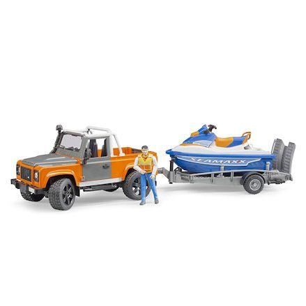 Bruder 02599 Land Rover Defender Pick up with Jet Ski