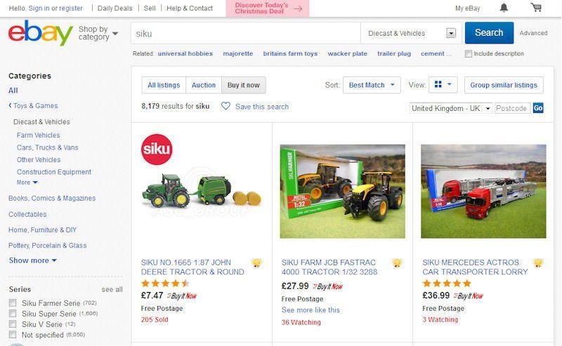 eBay Siku toy range in catalogue