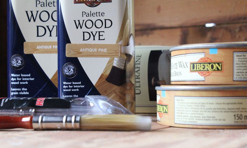 Liberon palette wood dye and wax cans with brushes