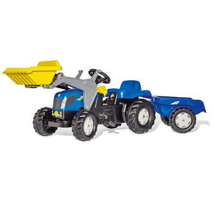 Rolly Toys New Holland ride on pedal tractor, front loader, trailer
