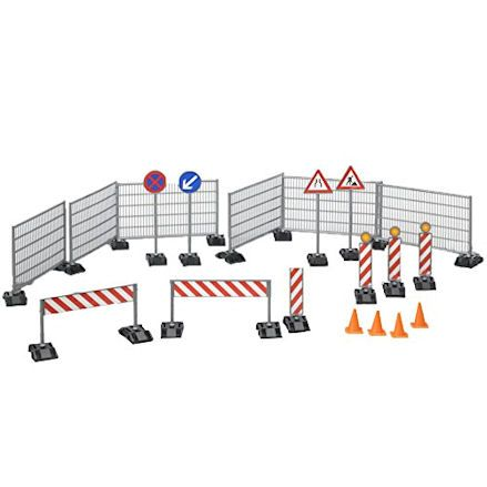 Play bricks, pallets, railing and cones
