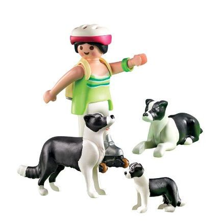 Playmobil Border Collie dogs, pup, boy