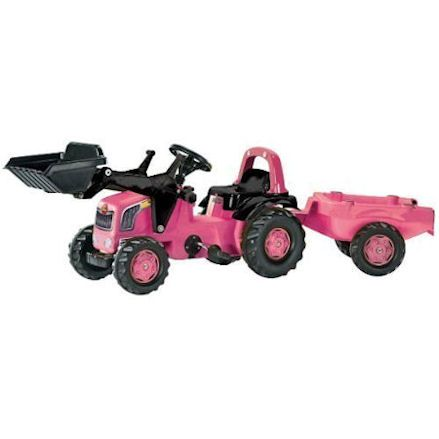 Rolly Toys pink tractor with trailer